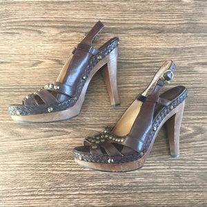 Frye studded leather wooden heels sandals